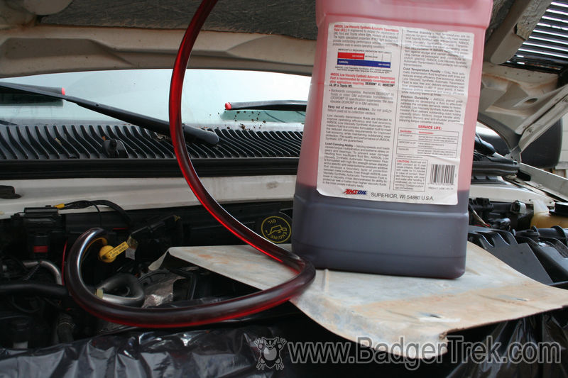 How To Drain Transmission Fluid >> Badgertrek Changing Torqshift Transmission Fluid